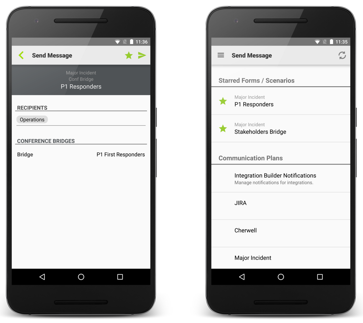 Starred forms and scenarios for the Android app