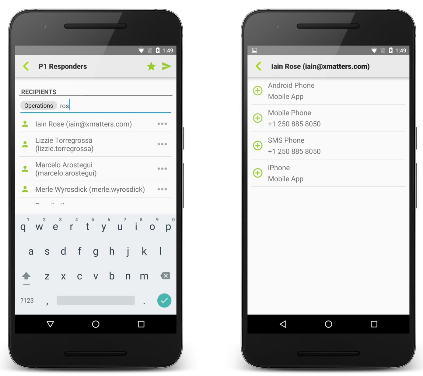 Modifying Message Recipients for the Android app