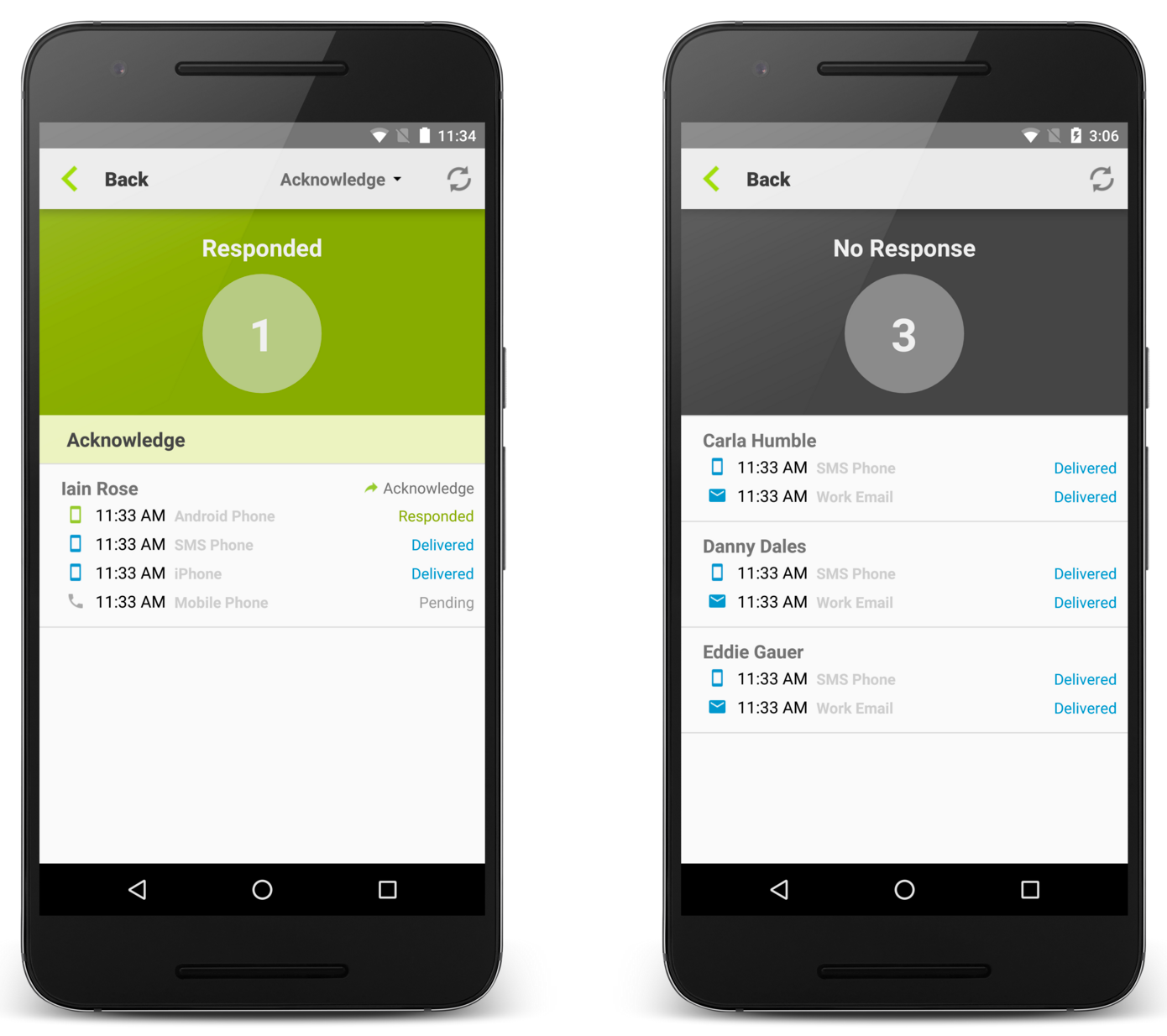 Filter Recipients By Responses for the Android app