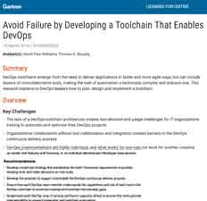 Read the research from Gartner: Avoid Failure by Developing a Toolchain That Enables DevOps