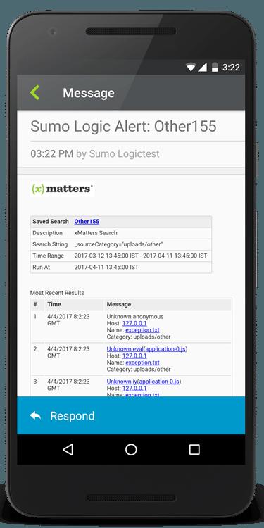 Sumo Logic alerts in xMatters
